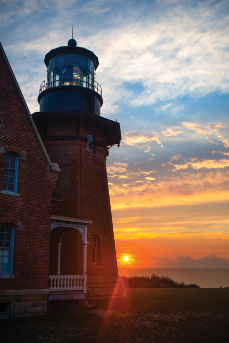 Southeast Lighthouse on Block Island, Rhode Island, at sunrise.