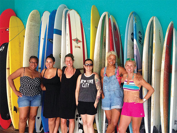 Kim-Marie (far right) with her fellow surfers