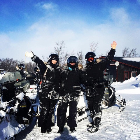 Mary Gibbons, Terri Haidinger and Maria Haidinger after snowmobile tour to Laktatjakko