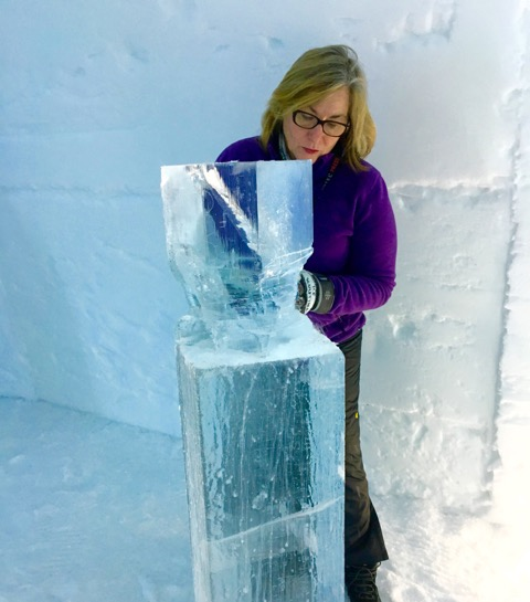 Mary Gibbons ice sculpting at ICEHOTEL - Photograph: Terri Haidinger